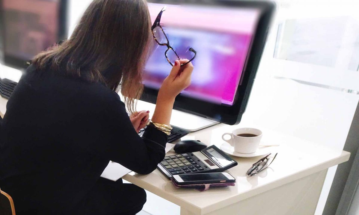 How can you prevent eye strain from working at home?